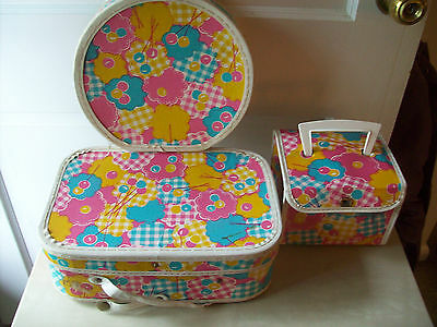 """Lot of 3 Vintage Doll Travel Suitcases 13x 8 1/2""""-10"""" in diameter & 6 3/4"""" x 6"""""""