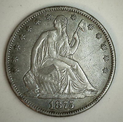 1875 Seated Liberty Half Dollar Silver US Type Coin Almost Uncirculated AU