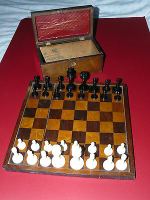 ANTIQUE CARVED 19TH c CHESS SET AND BOARD EXCL QUALITY