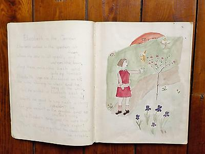 Vintage 1927 Childs Sketch book by Young Girl Watercolours Drawings Poems etc
