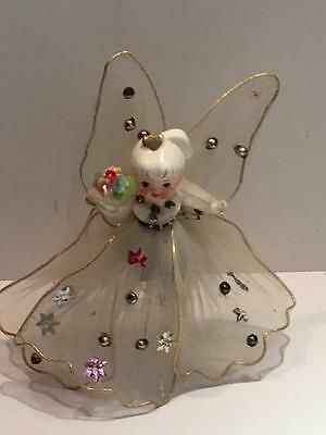 Beautiful Porcelain Angel Christmas Tree Topper VTG Feather Tree Doll Netting