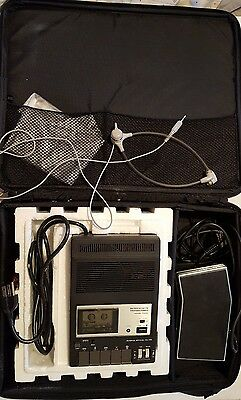 OLYMPUS microcassette transcriber Model T600 headset and traveling case.