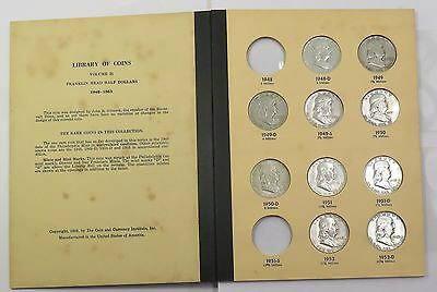 x28 Coin Franklin Half Dollars 1948-1963 Silver Near Complete Album Set #12749D
