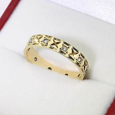 Quality Vintage 1966 9ct Gold White Spinel Full Eternity Ring Size N Gift Boxed
