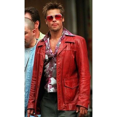 Fight Club Brad Pitt Real Leather Jacket FC Coat Red