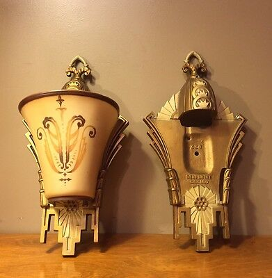 Pair Of Vintage Art Deco Beardslee Wall Sconces Chicago - Cast Aluminum