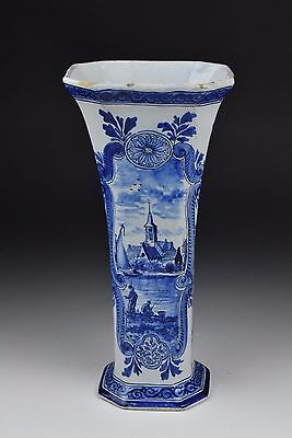 Antique 18th / 19th Century Delft Pottery Vase with Blue & White Views
