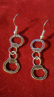 Handcuff Earrings Fifty Shades Front Facing.Fetish Goth Emo Punk