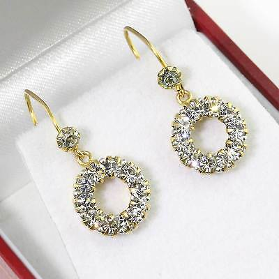 Stunning Antique 9ct Gold Diamond Paste Cluster Hook Drop Earrings Gift Boxed