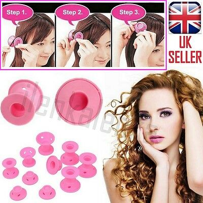 10 x Lady Silicone Magic Circle Hair Styling Twist Roller Curler Pink Former DIY