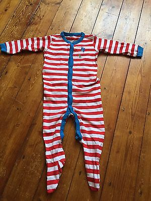 Next Baby Boy Kite Red Stripe Long Sleeve Sleepsuit Age 12-18 Months