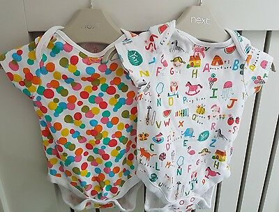 Next Baby Girls Set Of 2 Multi Coloured Bodysuits - Size 3-6 Months - USED