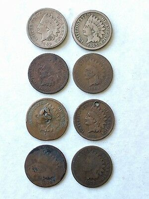 1862,1863,1864,1865,1866,1873,1874,1875 Indian Head cent pennies collection a9