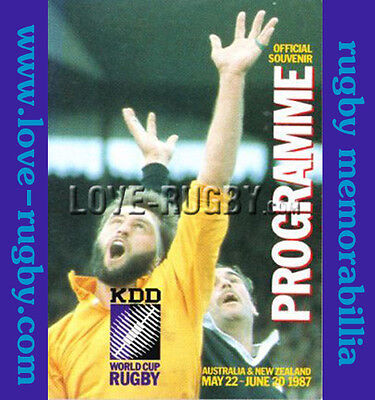 1987 - Rugby World Cup (RWC) Pool Programme - Excellent Condition  wales a
