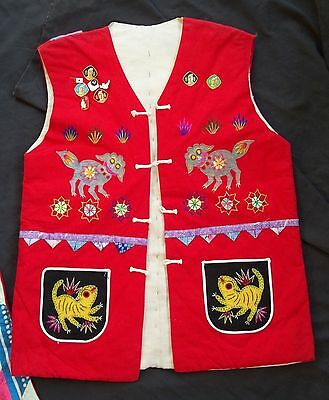 Traditional Festival Chinese Vest and Satchel w Insects Cats and a Frog.Handmade