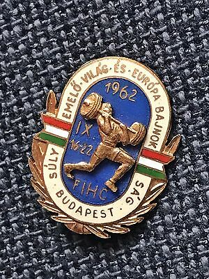 Weightlifting world and European championship 1962 Hungary participation Badge