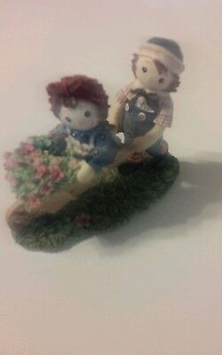 """RAGGEDY ANN & ANDY FIGURINE, """"Scatter seeds of happiness wherever you go"""""""
