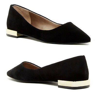 TAHARI Eda Pointed Toe FLATS Slip-on Shoes 8 M Black Suede Leather NEW