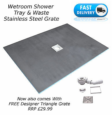 Wet Room 1500 x 800 x 20mm Tray & Waste Free Triangle Grate -(T+D)