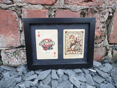 Sailor Jerry Framed Lucky 7 Horse Shoe Playing Card Tattoo Studio Vintage Flash