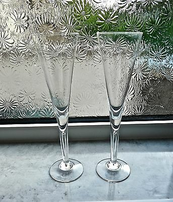 Superb Pair Of Dartington Sharon Champagne Flutes 25 Cms Tall