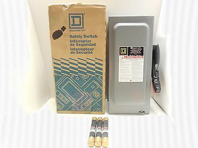 Square D Safety Switch H361N 30 Amp 600 Volt Fusible 3 Pole Disconnect New