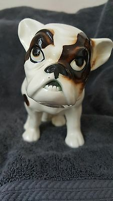 Neat vintage or antique French  bulldog dog  figurine Piebald and grumpy!