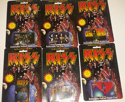 Kiss:set of 6 collectable phone cards 1996 sealed new