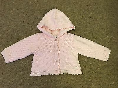 Absorba Baby Girl Pink Knitted Fur Lined Jacket with Hood - 6 Months