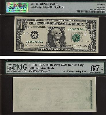 Insufficient Inking Error Note 1974 $1 Frn 90% Reverse Missing Pmg 67 Superb Unc