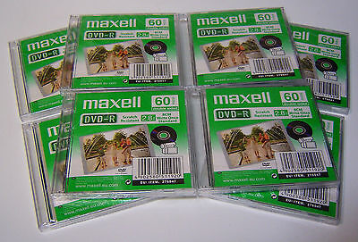 8 Maxell DVD-R Write once 8 Cm Camcorder Discs 60 Min 2.8 GB Jewel Double sided