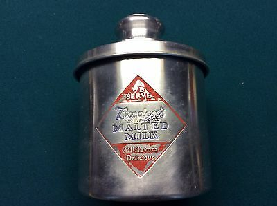 Vintage BORDENS Malted Milk Soda Fountain Cannister, Embossed Metal