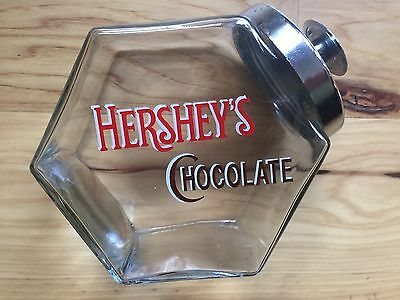 VINTAGE HERSHEY'S CHOCOLATE GLASS CANDY COUNTER JAR With LID