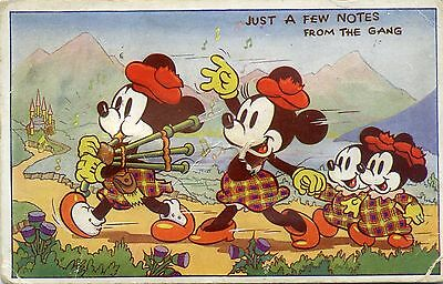 Great Britain Disney Mickey Mouse Rare 1939 Postmark Squeeze Toy Postcard Works!