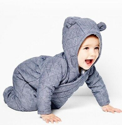 Baby Gap Quilted Chambray Bear One Piece 0-3 Months