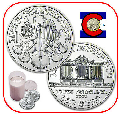 2008 Austria Silver Philharmonic 1 oz -- Roll/Tube of 20 Coins -- 1st Year