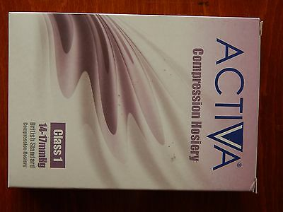 New Boxed Activa Compression Hosiery Class 1 14-17mmHg Black Below Knee XL Sock