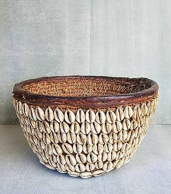 Antique Nigerian Tribal Cowrie Shell Covered Basket Museum Quality
