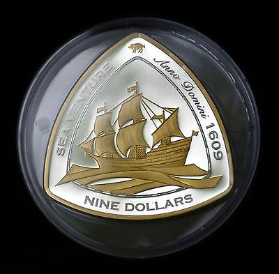 "2006 ""Bermuda Shipwrecks"" 5 Ounce Silver Coin $9 dollar denomination"