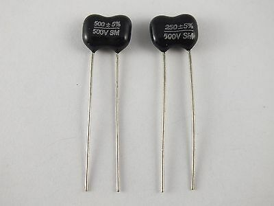 SILVER MICA CAPACITOR 250pF or 500pF 500V for use with Guitar Pots or Amplifier