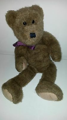 """Vintage Boyds Bear Fully Jointed Brown Original Neck Bow Bean Filled Heavy 17"""""""