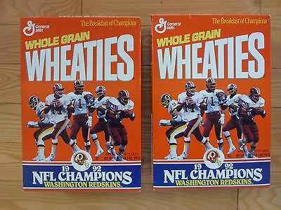 Lot Of 2 Wheaties  Washington Redskins 1992 Nfl Champions Rare Un-Opened