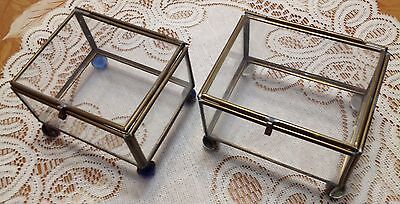 VINTAGE  BRASS & GLASS DISPLAY CURIO CASE SMALL BOX for MINIATURES ~ JEWLERY