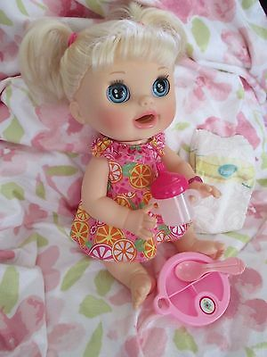 """Baby Alive Hasbro 2012 """"Real Surprises"""" BLOND doll with accessories EUC"""