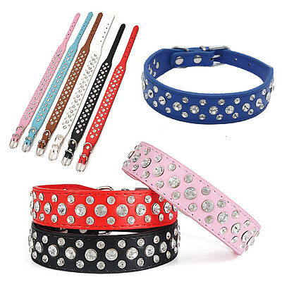 Cute Neck Strap Cat Collar Puppy Dog Pet Crystal Collar PU Leather Crystal