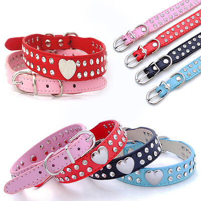 Bling Rhinestone Pet Puppy Cat Crystal PU Leather Neck Strap Dog Collar