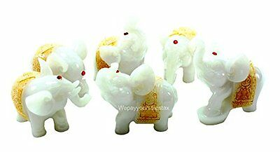 Feng Shui Set of 6 Jade White Elephant Statues Wealth Lucky Figurines Home...