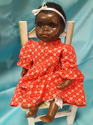 """One of a Kin Black Wax Doll by Artist Gillie Charleston  Rare 16"""" Adorable!"""