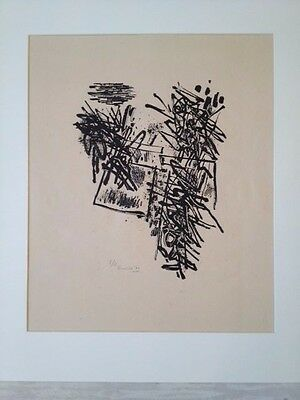 CORNEILLE - vol oiseau aux printemps -  RARE LITHO - sign - 1960