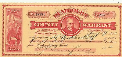 Antique Check/warrant Humbolt County, Nevada  1913  Very Clean Winnemucca
